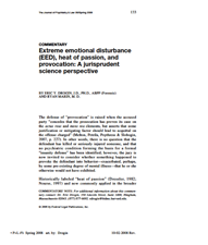 Extreme emotional disturbance (EED), heat of passion, and provocation: A jurisprudent science perspective
